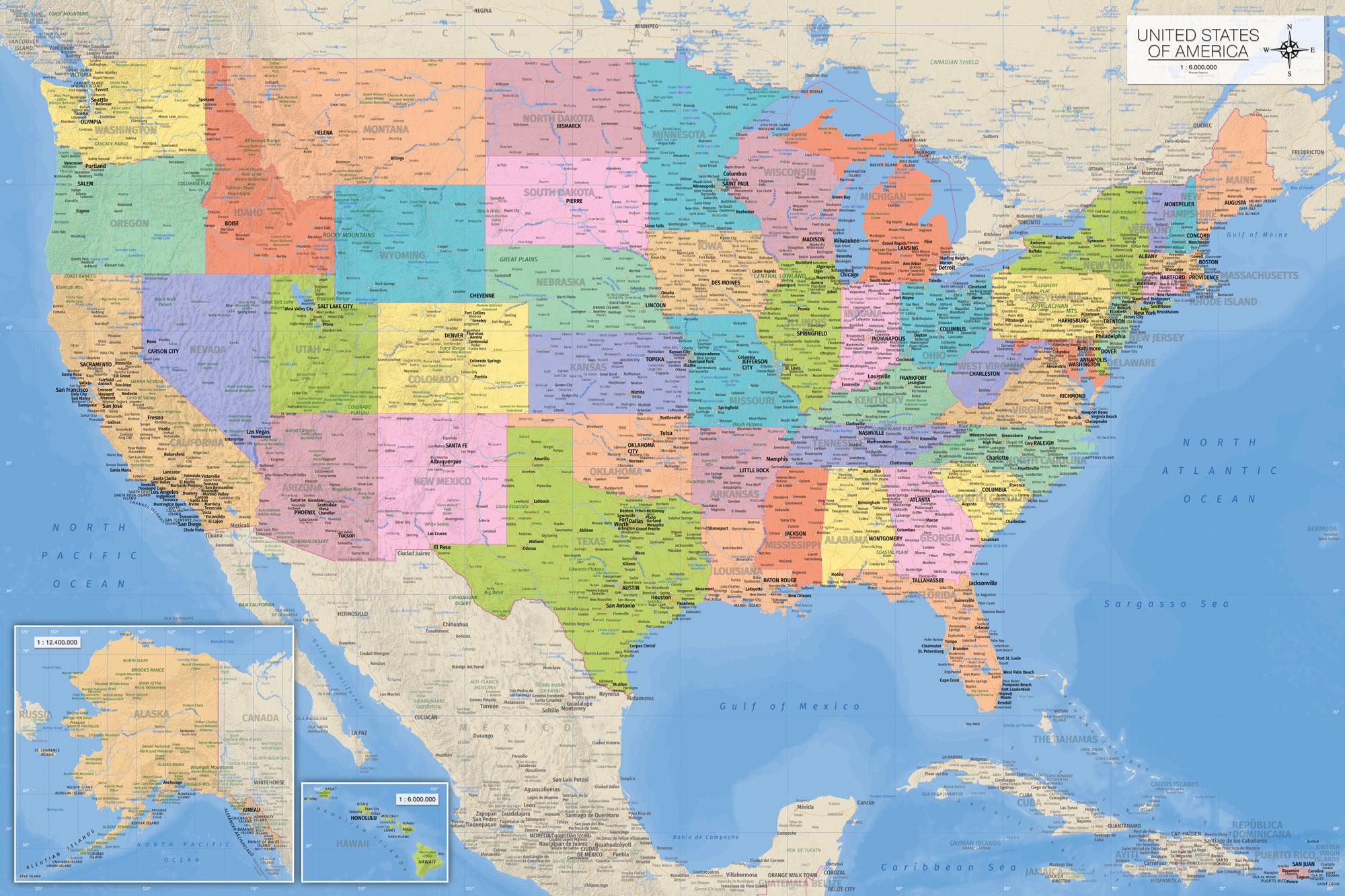 Details zu Landkarten - Map of the USA englisch - Poster Druck 1:6 Mio.,  91,5x61 cm