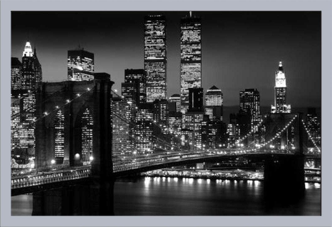 New York Manhattan NYC Brooklyn Bridge schwarz-weiß - Poster Druck ...