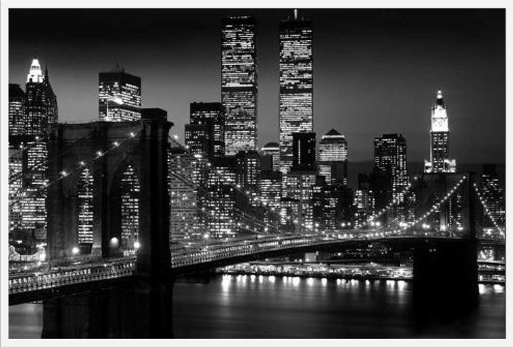 New York Manhattan NYC Brooklyn Bridge schwarz-weiß - Poster Druck ...
