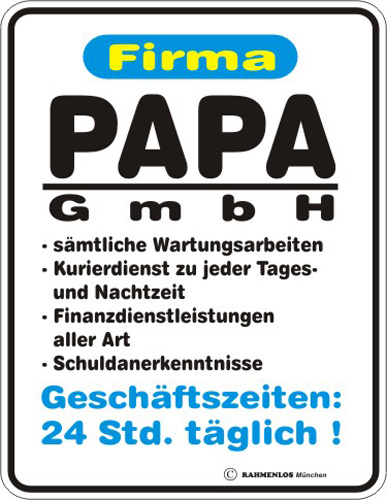 papa gmbh blech schild spruch fun schilder 17x22. Black Bedroom Furniture Sets. Home Design Ideas