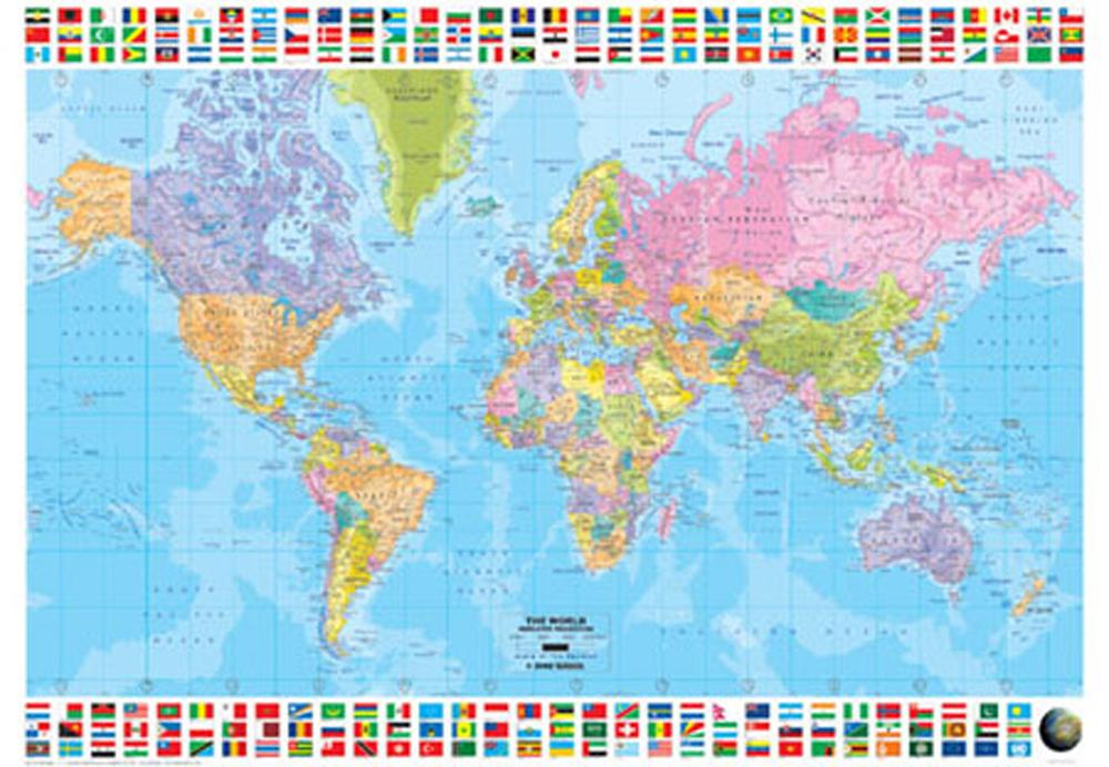Landkarten politische weltkarte version 4 poster 91 5x61 - Mappa del mondo contorno ks2 ...