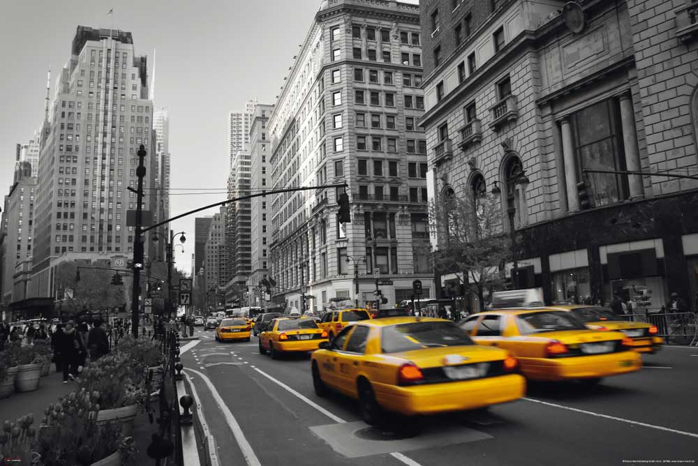 new york yellow cab taxi colourlight 5th poster 91 5x61. Black Bedroom Furniture Sets. Home Design Ideas