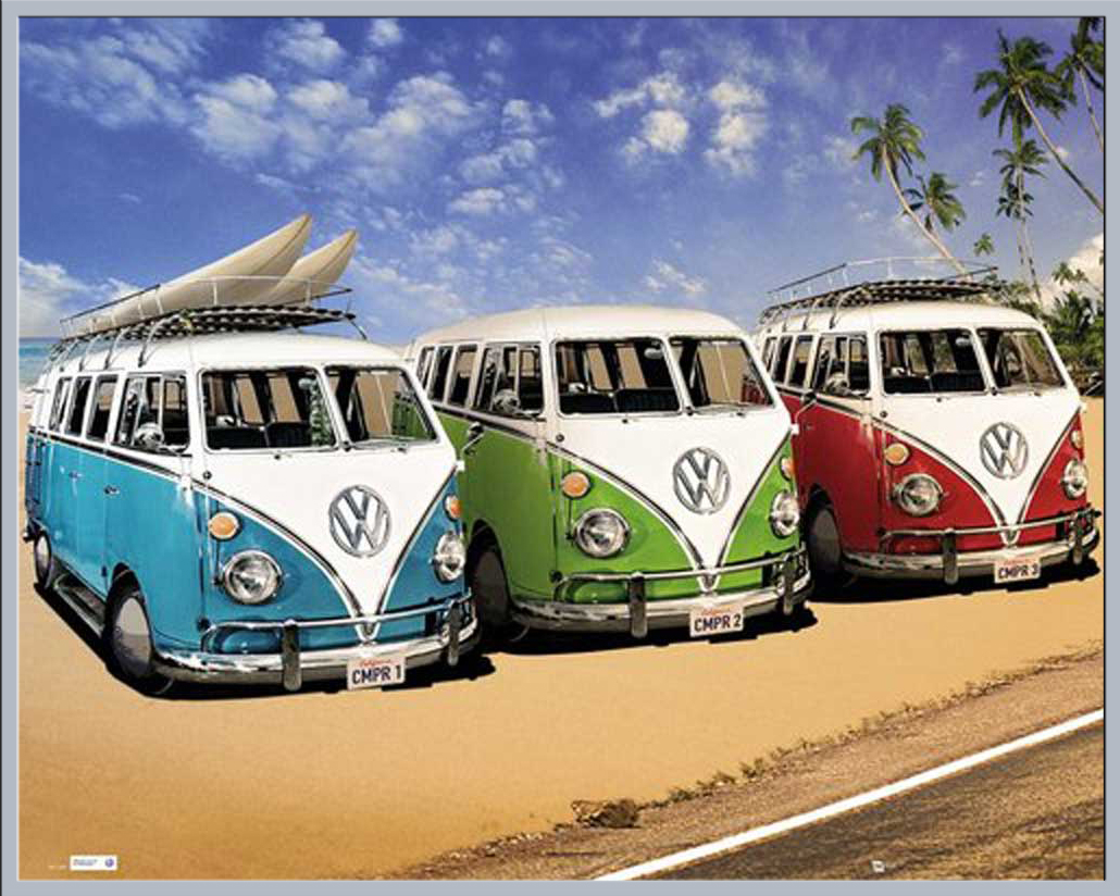 volkswagen vw bus auto strand poster plakate druck ebay. Black Bedroom Furniture Sets. Home Design Ideas