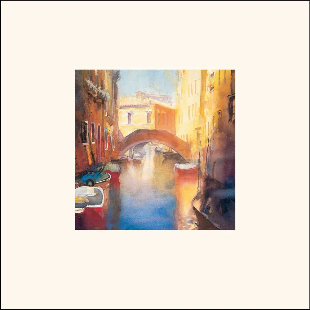Cecil Rice - Kunstdruck / Art Poster - Canal with Orange Bridge