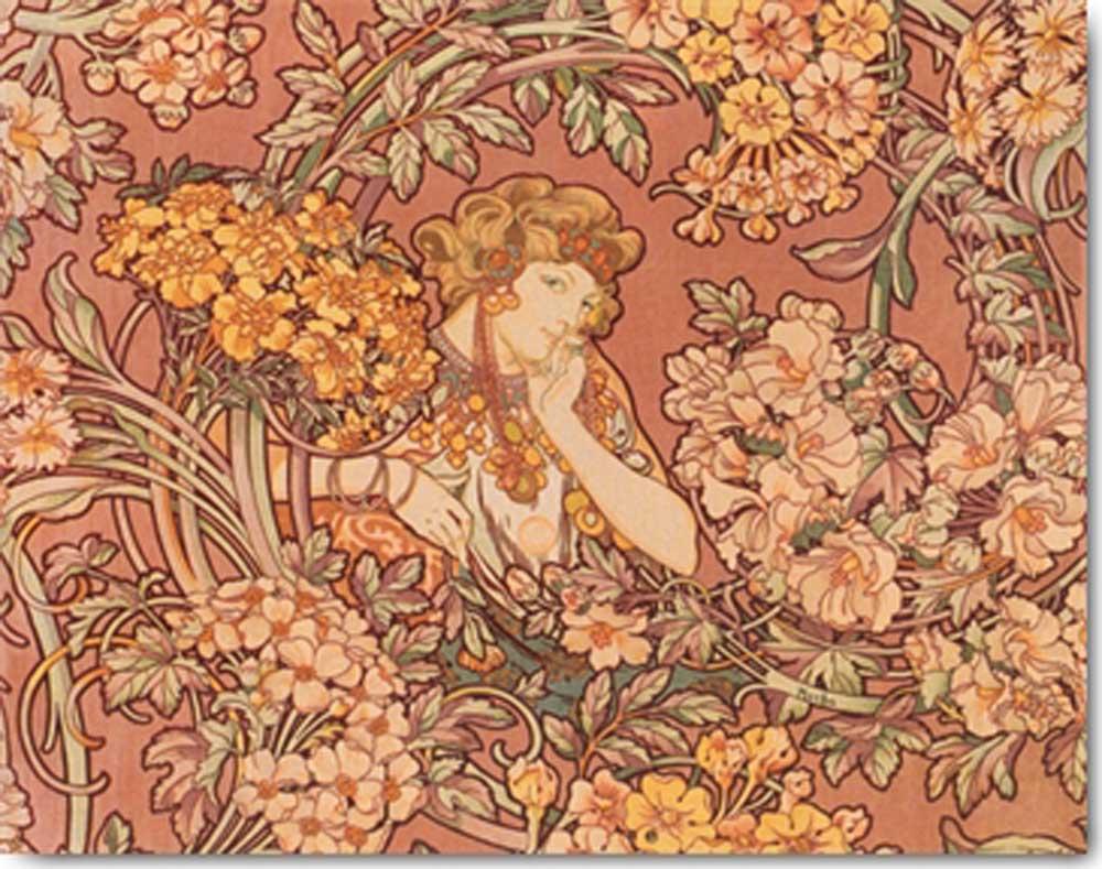 Jugendstil Malerei alfons mucha among flowers kunstdruck 71x56