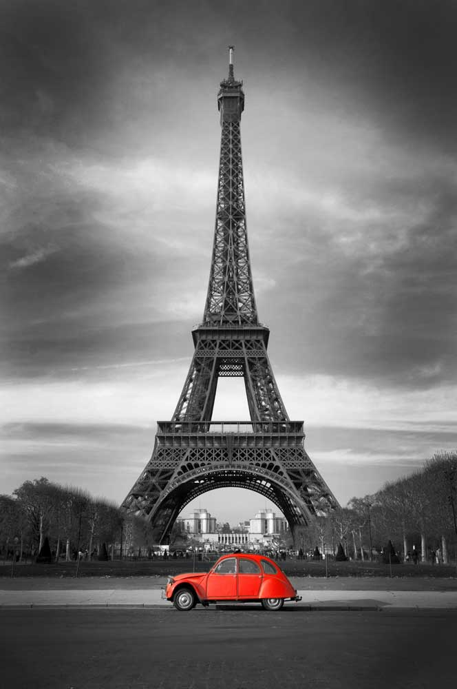 paris red 2cv poster 61x91 5. Black Bedroom Furniture Sets. Home Design Ideas