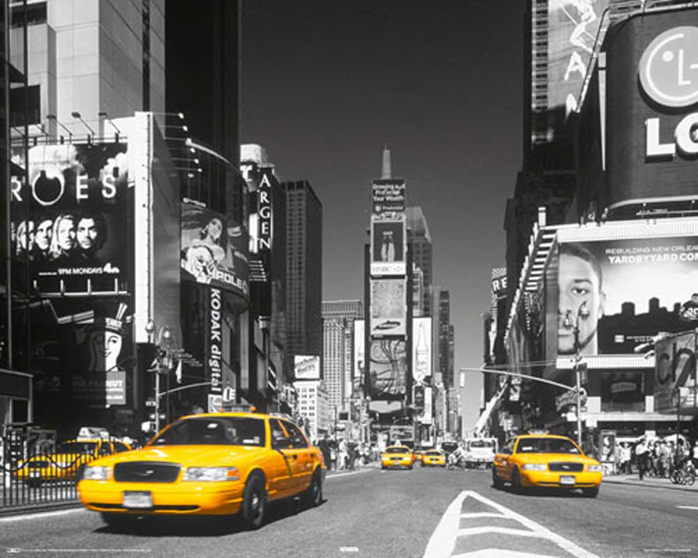 new york times square yellow cab mini poster 50x40. Black Bedroom Furniture Sets. Home Design Ideas