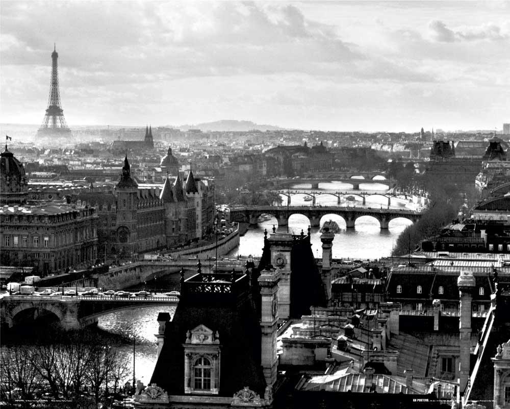 paris river view mini poster 50x40. Black Bedroom Furniture Sets. Home Design Ideas