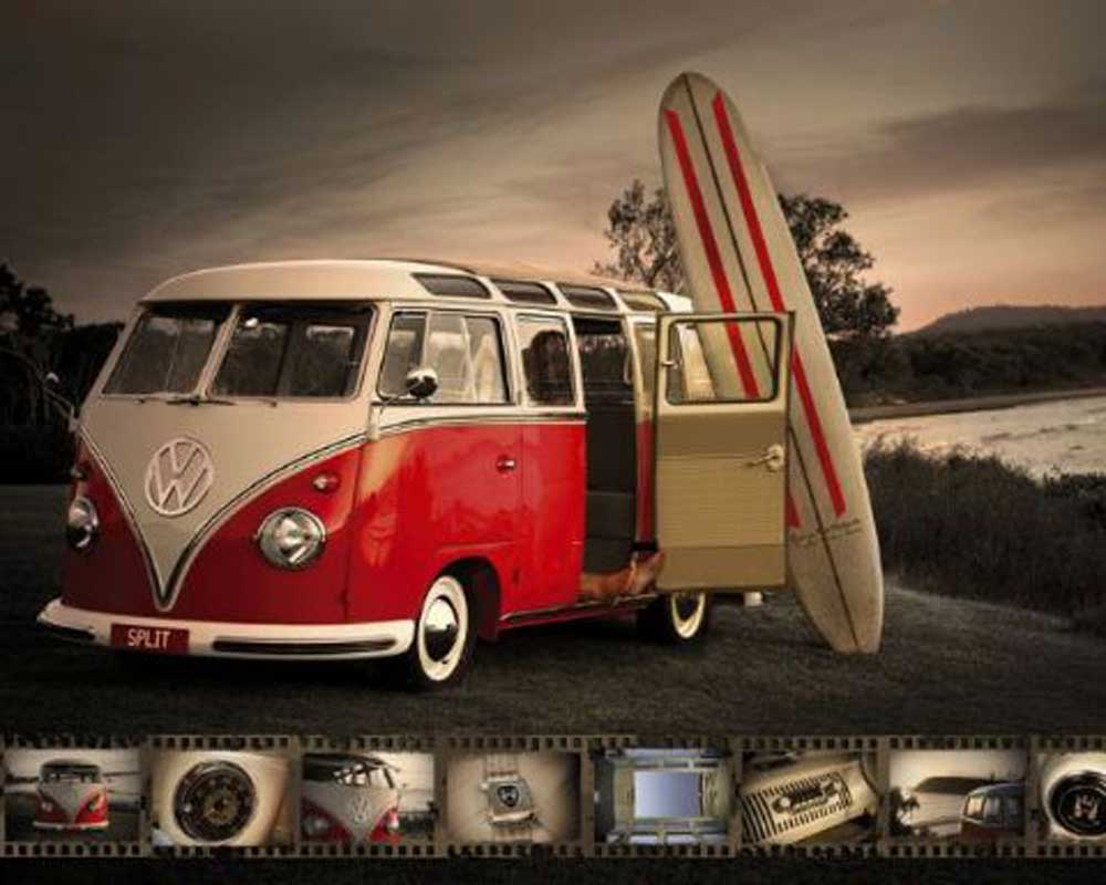 volkswagen camper mit surfbrett mini poster 50x40. Black Bedroom Furniture Sets. Home Design Ideas
