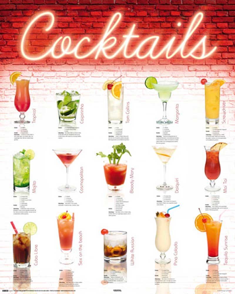 Cocktails deutsch mini poster 40x50 for Cocktail 2018