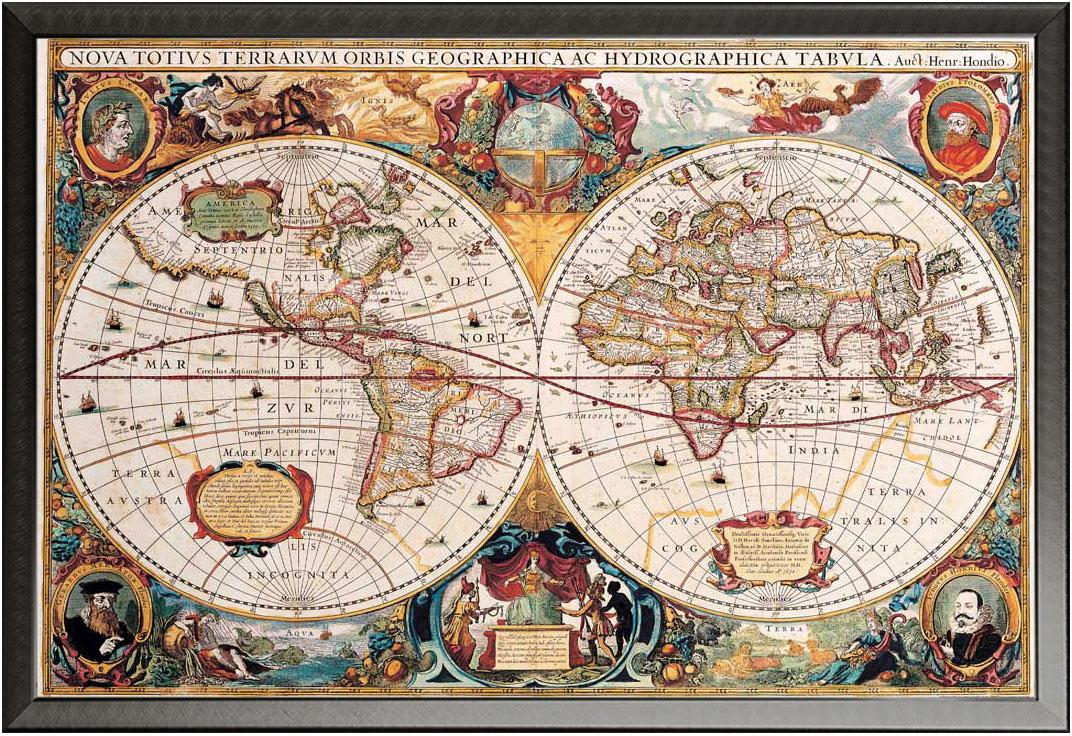 Landkarten - Antike Weltkarte - Educational - Poster Druck - Größe ...