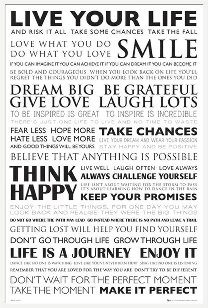 motivational live your life poster 61x91 5. Black Bedroom Furniture Sets. Home Design Ideas