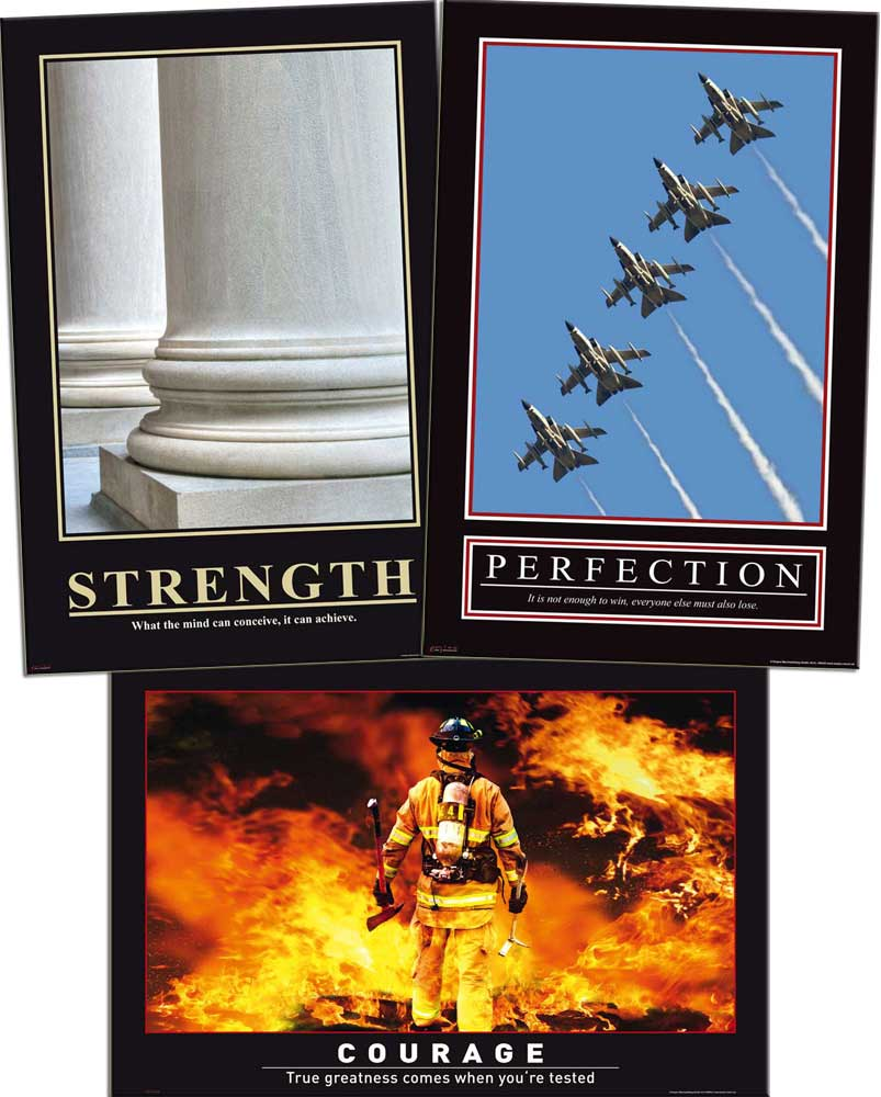 Motivational Büro Set 2 - Poster 3er Set - Strength, Perfection, Courage