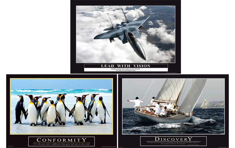Motivational Büro Set 3 - Poster 3er Set - Discovery Conformity Lead