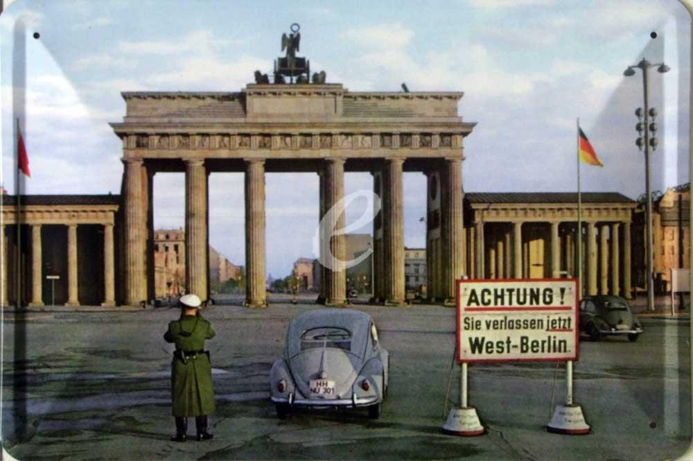 deutsche st dte berlin sie verlassen west berlin blechschild 30x20. Black Bedroom Furniture Sets. Home Design Ideas