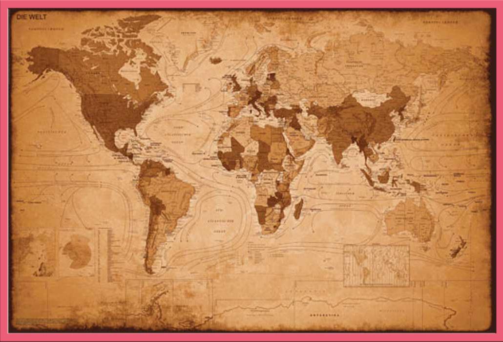 landkarten weltkarte antik poster 91 5x61. Black Bedroom Furniture Sets. Home Design Ideas