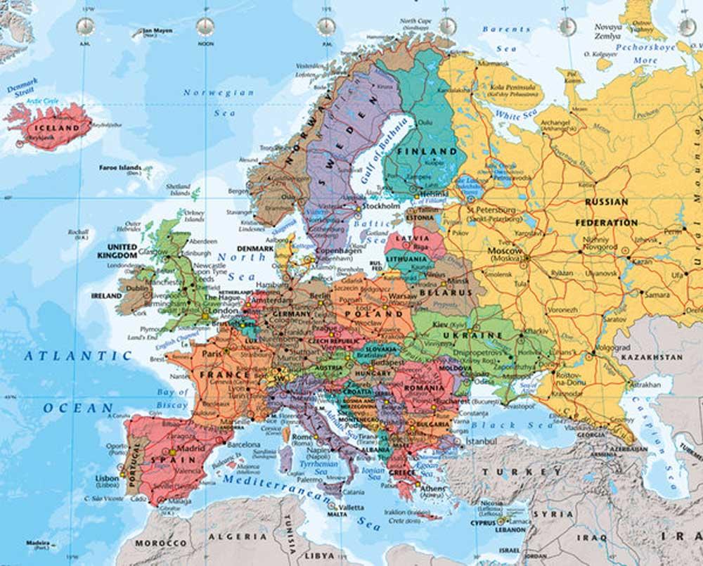 Karte Von Europa Mit Städten.Landkarten Europa Map 2014 Mini Poster 50x40