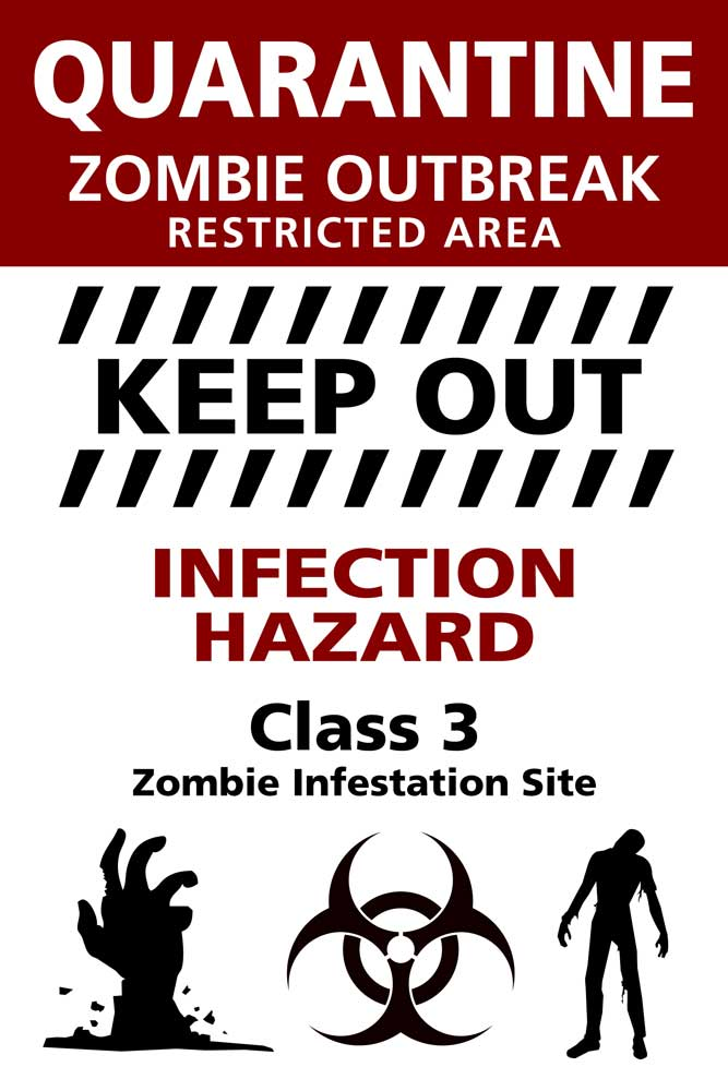 Warning Sign - Poster - Zombie Outbreak
