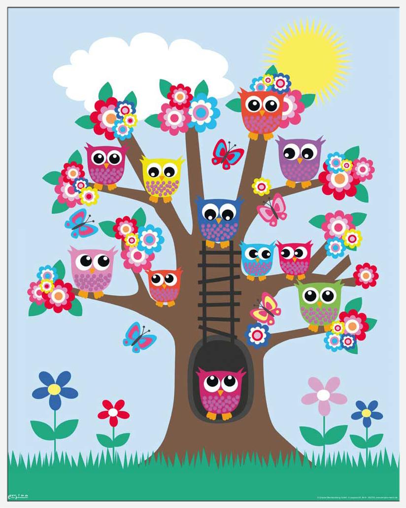 Eulen - Eulenbaum Owls in a tree - Mini-Poster - 40x50