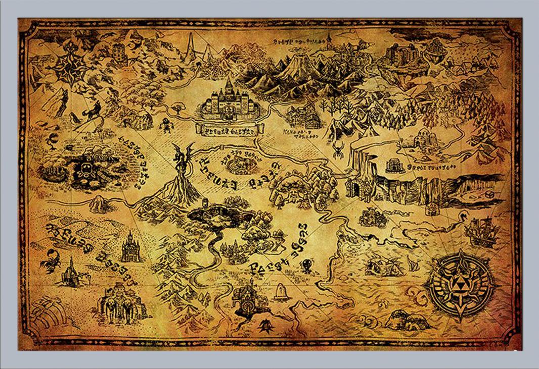 Details Zu The Legend Of Zelda Hyrule Map Videospiel Poster Plakat Druck Grosse 91 5x61cm