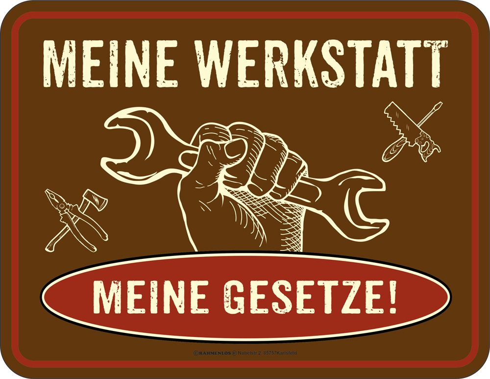 sprüche werkstatt Meine Werkstatt   Blech Schild Spruch   Fun Schilder   22x17 sprüche werkstatt