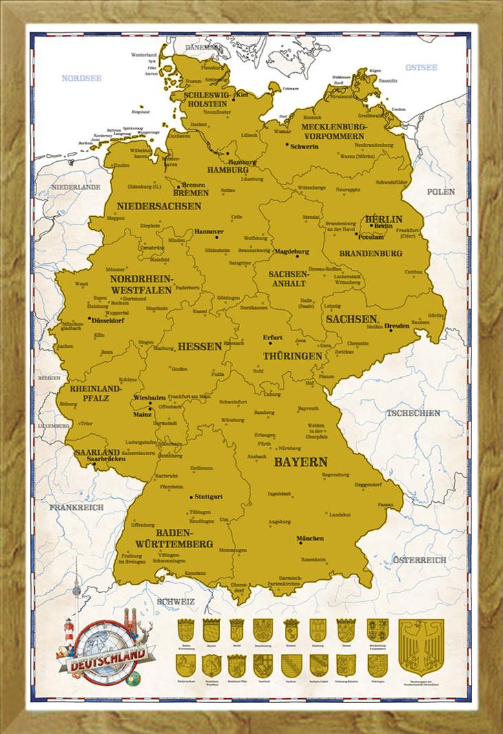 rubbel landkarte deutschland Scratch Map Germany politically 2017   61x91,5 Poster   eBay