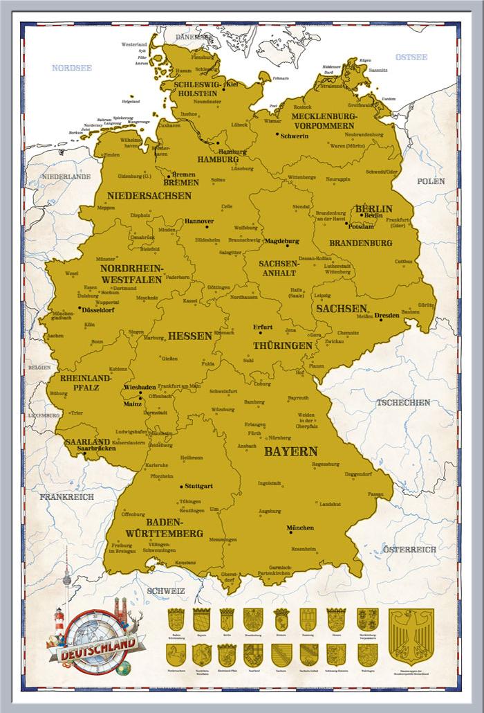 Rubbelkarte Mapas Alemania Politicamente 2017 61x91 5 Poster