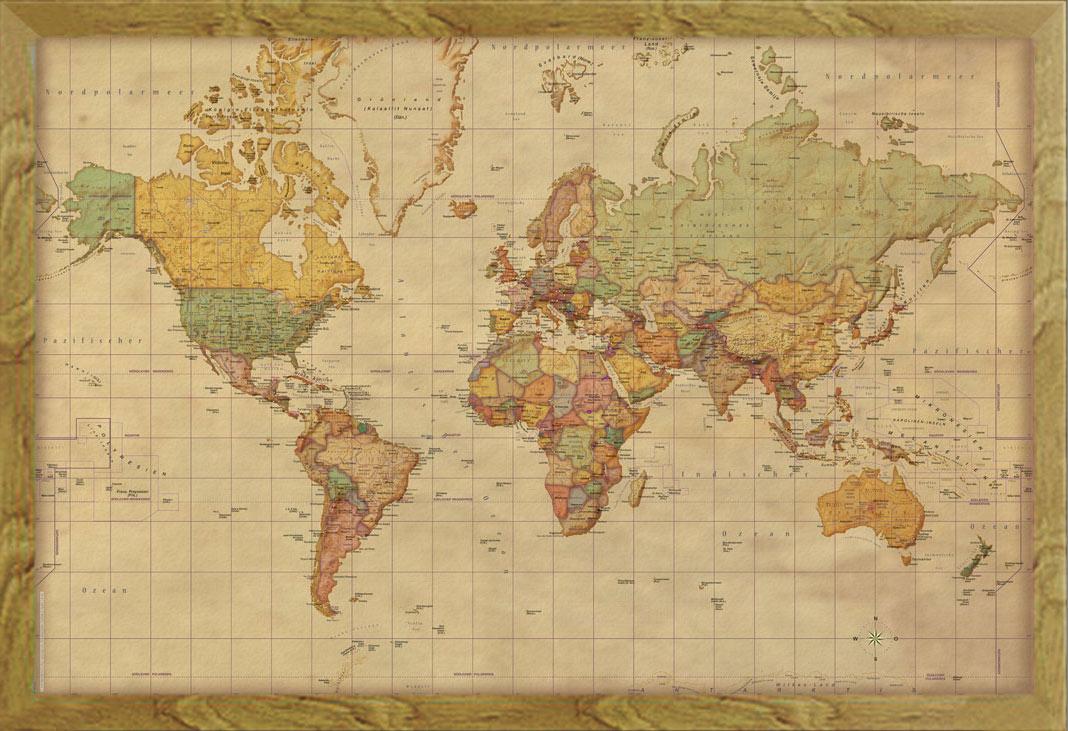 weltkarte antik Landkarten   Weltkarte Antik deutsch   Poster Druck 1:45 Mio  weltkarte antik