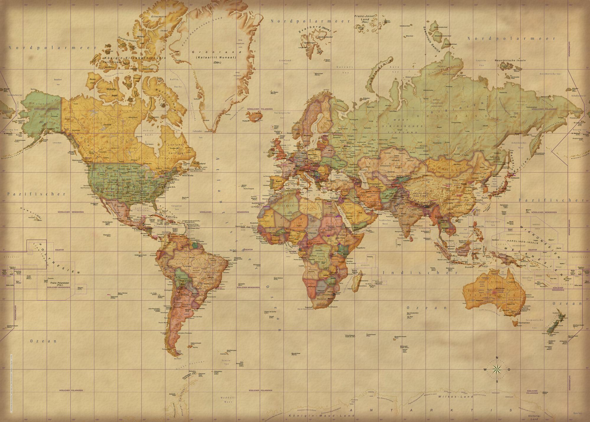 Landkarten Weltkarte Antik Deutsch Giant Poster 140x100