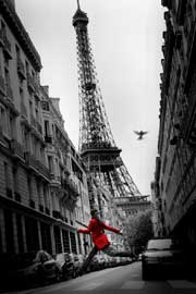 Poster - Paris Red Coat Eiffelturm colourligh