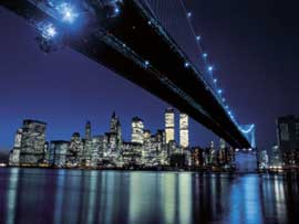 Poster - Silberman, Henri Brooklyn Bridge at Night