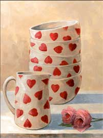 Poster - Mcgowan, Peter Breakfast Heart Bowls, Jug And Rose