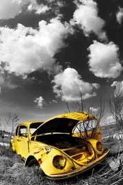 Poster - Volkswagen Wrecked Beetle VW Käfer Colourlight