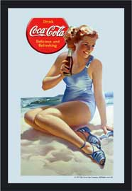 Poster - Coca Cola Pin up beach