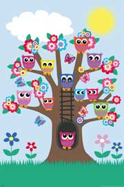 Poster - Eulen Eulenbaum / Owls in a tree