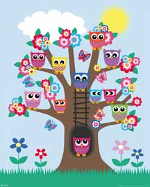 Poster - Eulen Eulenbaum Owls in a tree