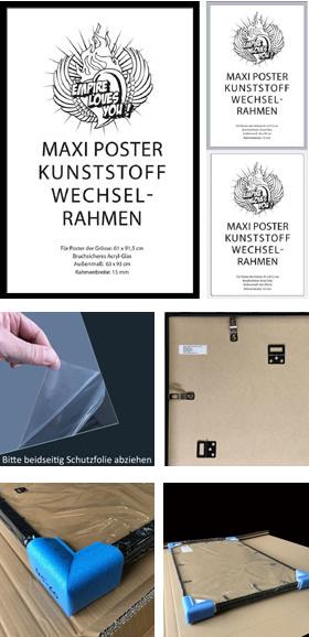 wechselrahmen posterrahmen empireposter kunststoff 61x91 5 schwarz silber wei ebay. Black Bedroom Furniture Sets. Home Design Ideas