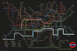 Poster - London Transport - Black Map