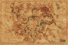 Poster - Legend of Zelda, The Breath Of The Wild - Hyrule World Map