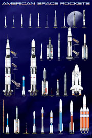 Poster - Educational - Bildung American Space Rockets