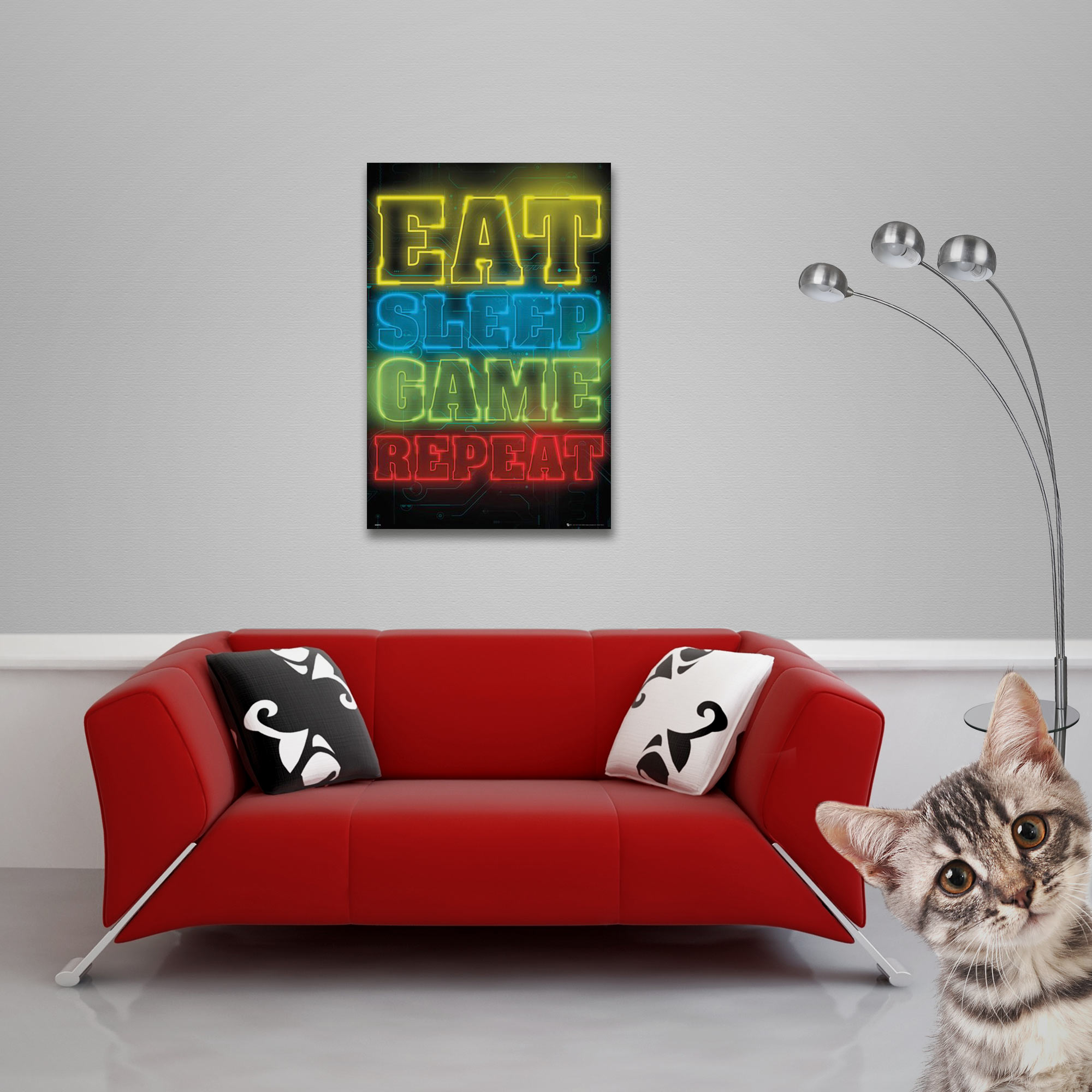 Gaming - Poster - Eat, Sleep, Game, Repeat Vorschau Sofa