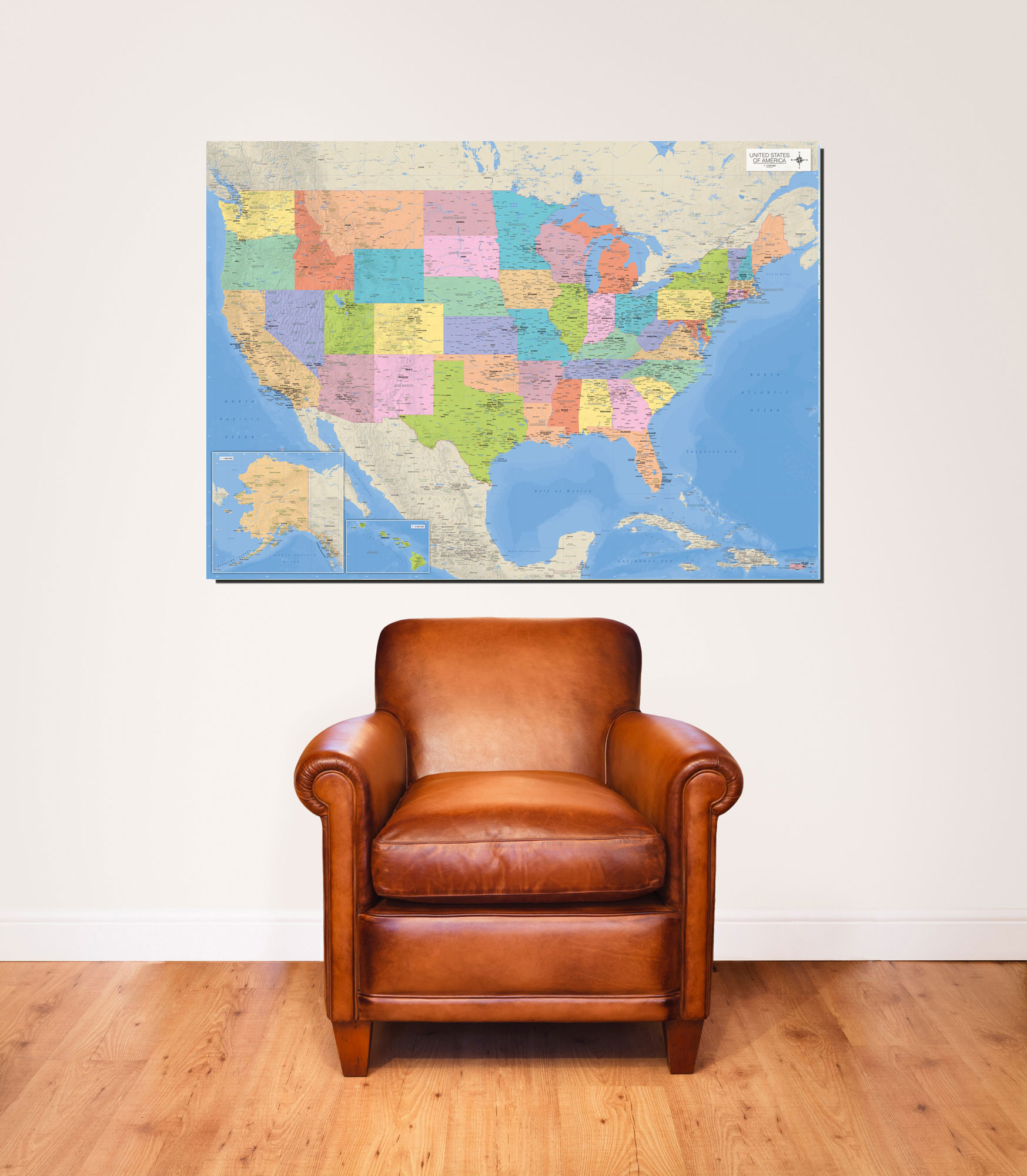 Landkarten  - Giant Poster - Map of the USA Vorschau Sofa